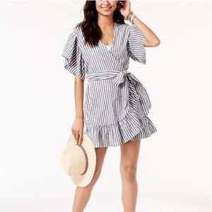 Miken swimwear striped wrap cover up large